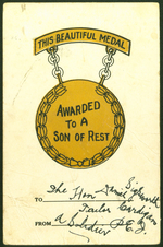 This Beautiful Medal Awarded to a Son of Rest.