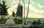 A Street Scene & Victoria Park and Harbour in Charlottetown P.E.I.